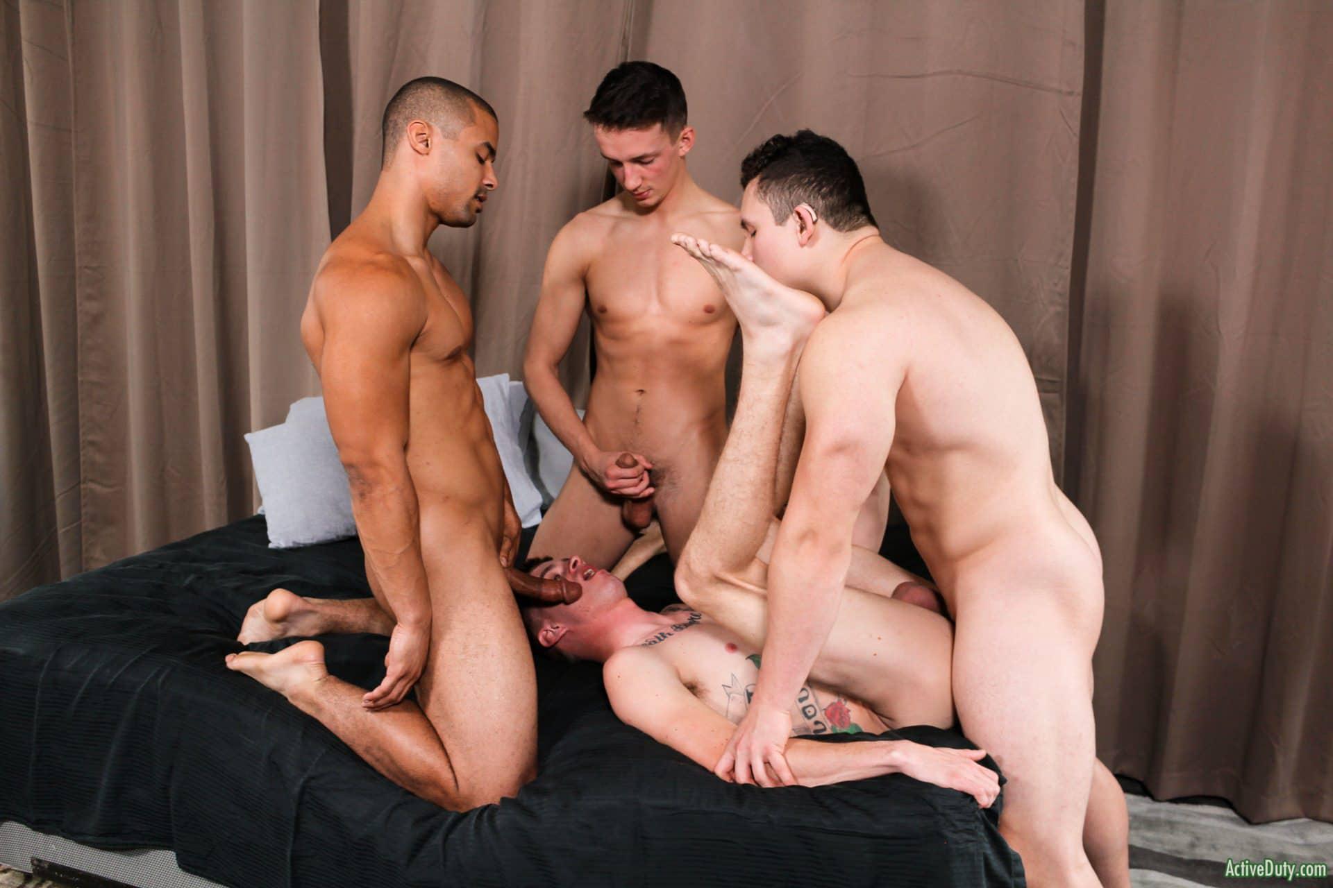 Active Duty gay porn orgy