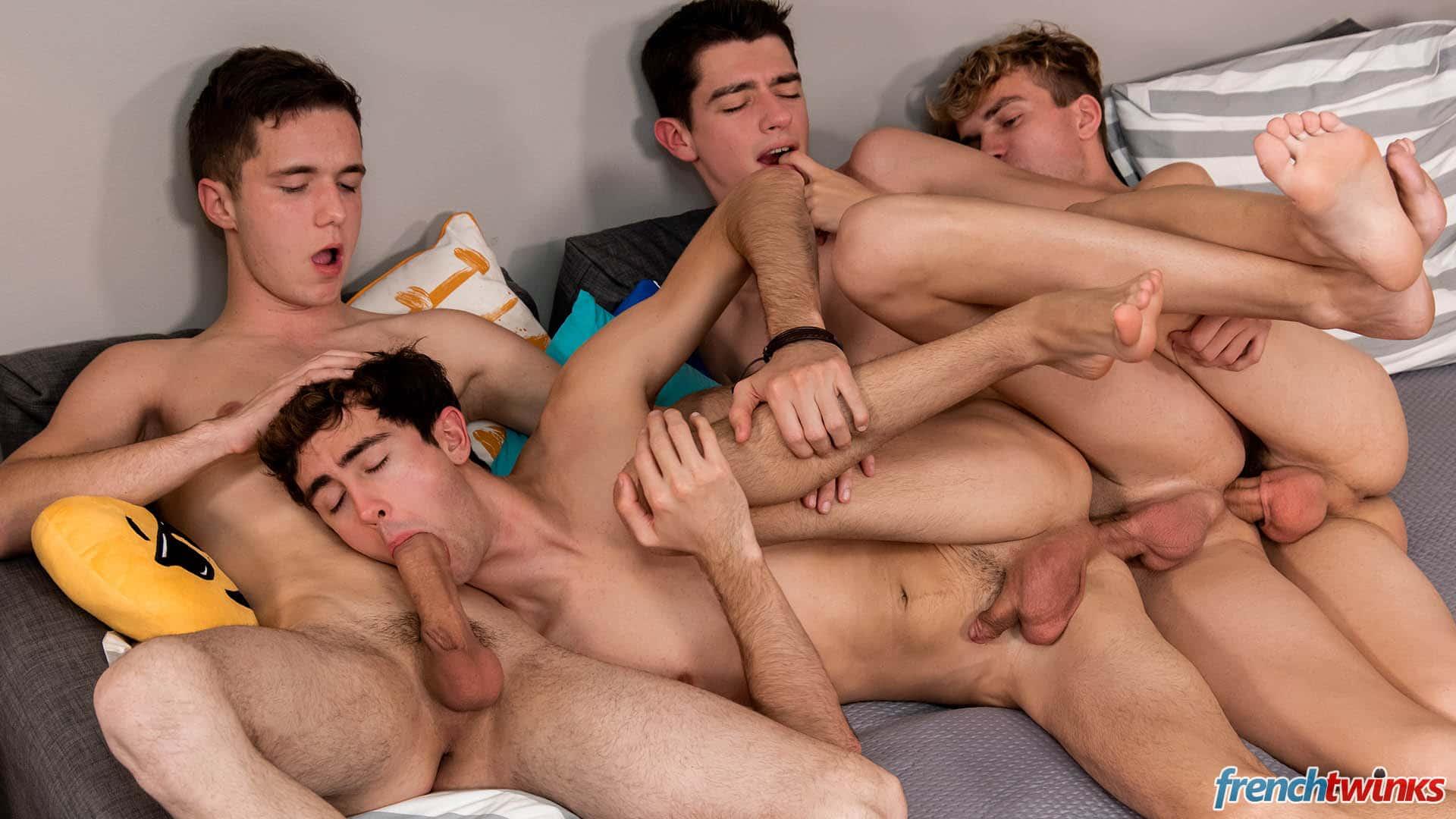 Boys having group sex